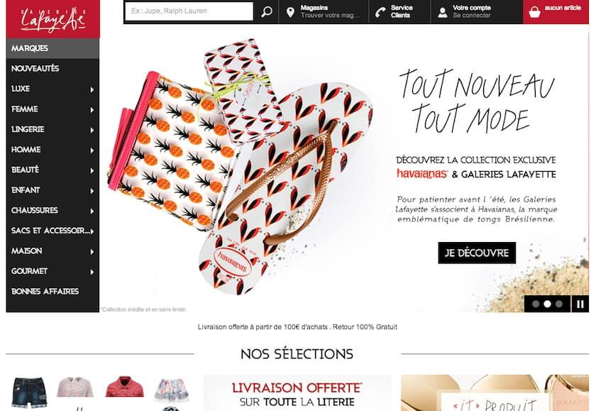 Galeries La Fayette Site on Desktop