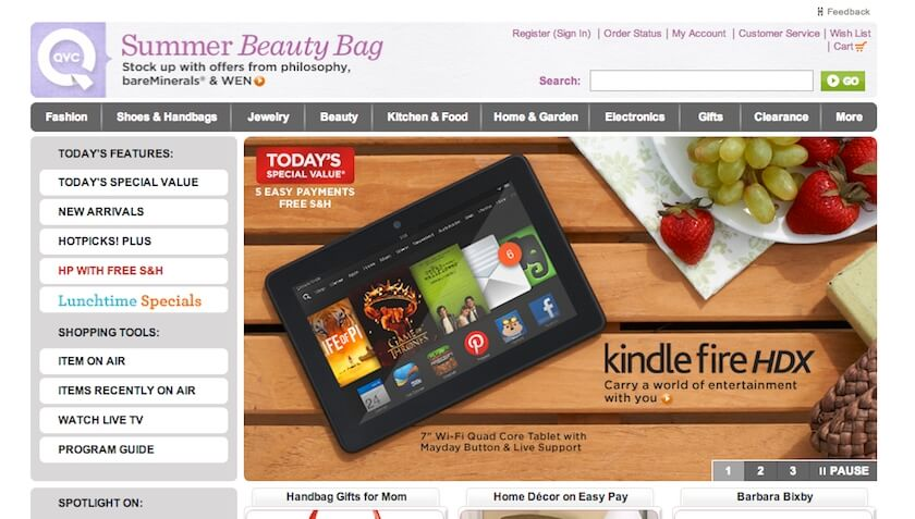 QVC Site on Desktop