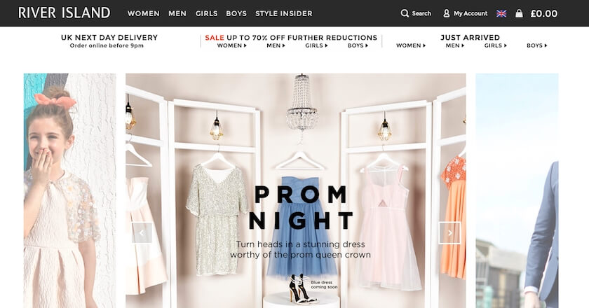 River Island Site on Desktop